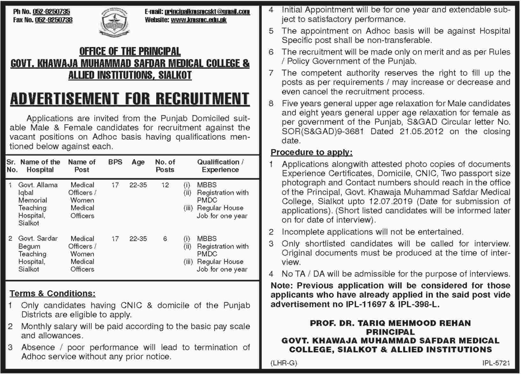 Govt Khawaja Muhammad Safdar Medical College & Allied Institutions Sialkot Jobs 2019