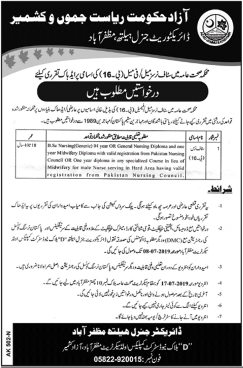 Health Department Azad Jammu & Kashmir Jobs 2019 Muzaffarabad AJK