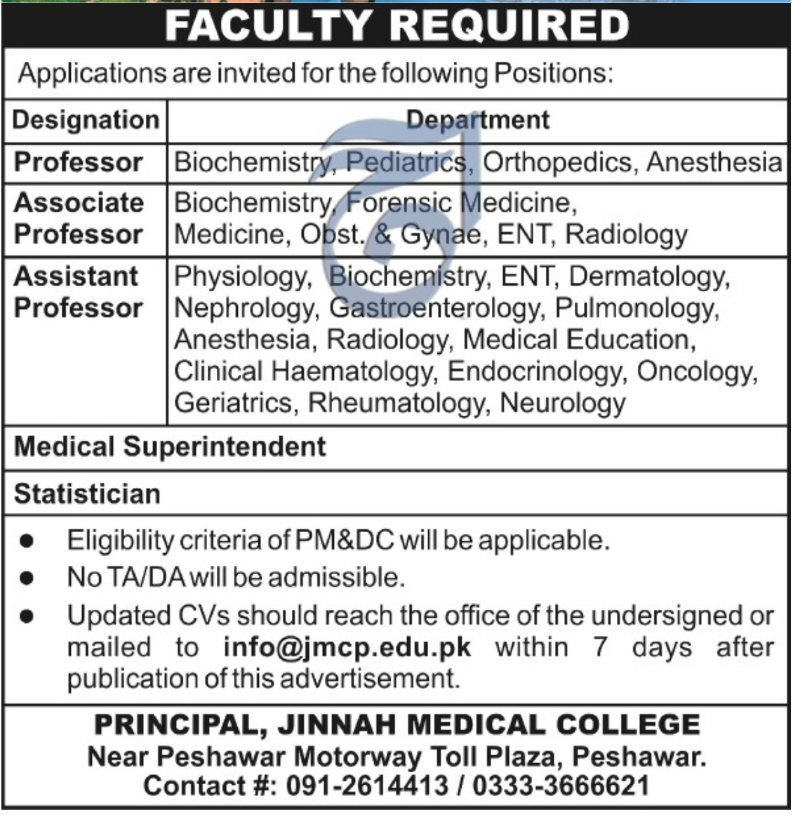 Jinnah Medical College Peshawar Jobs 2019 Khyber Pakhtunkhwa