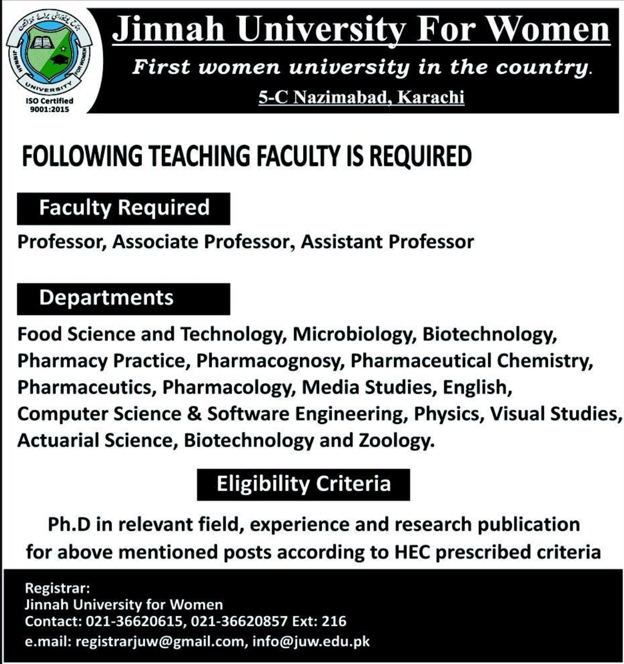 Jinnah University for Women Karachi Jobs 2019