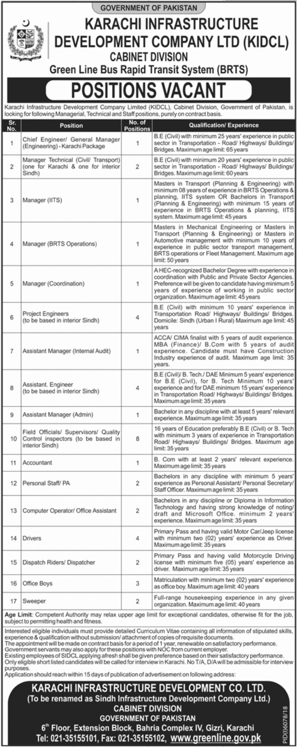 Karachi Infrastructure Development Company Ltd Jobs 2019 KIDCL Sindh