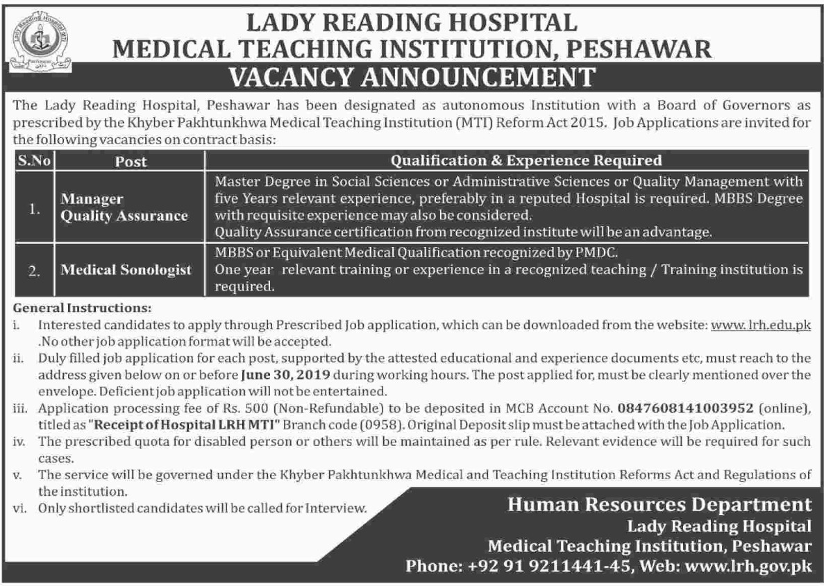 Lady Reading Hospital Medical Teaching Institution Peshawar Jobs 2019 KPK