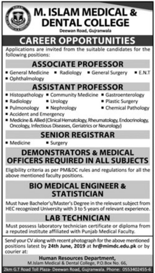 M. Islam Medical & Dental College Gujranwala Jobs 2019