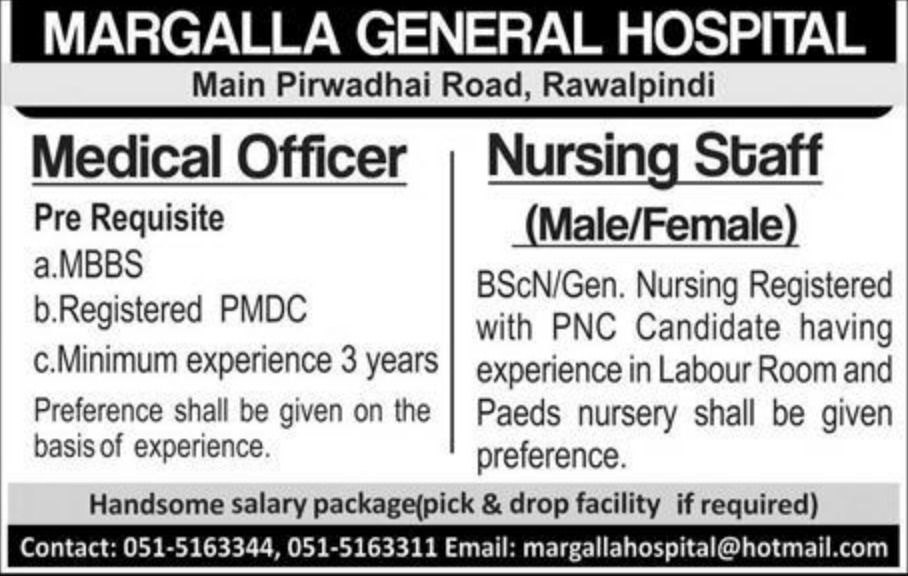 Margalla General Hospital Rawalpindi Jobs 2019
