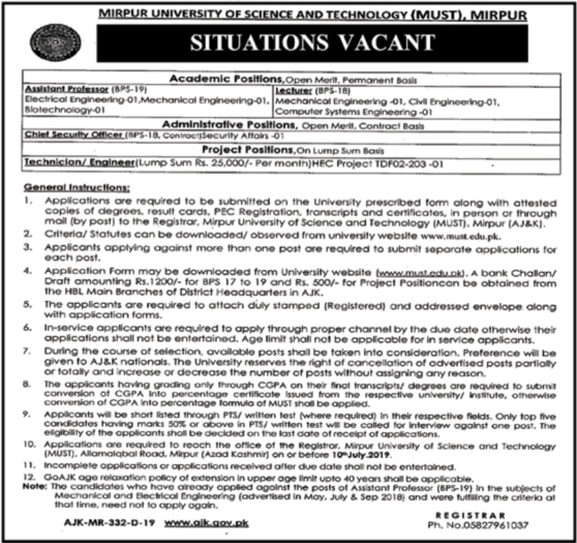 Mirpur University of Science & Technology MUST Jobs 2019 Azad Jammu & Kashmir
