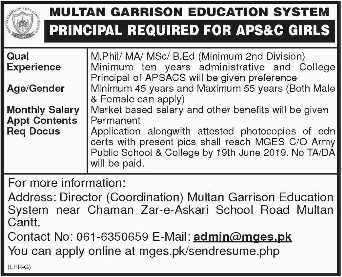 Multan Garrison Education System Jobs 2019