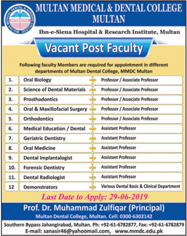 Multan Medical & Dental College Jobs 2019