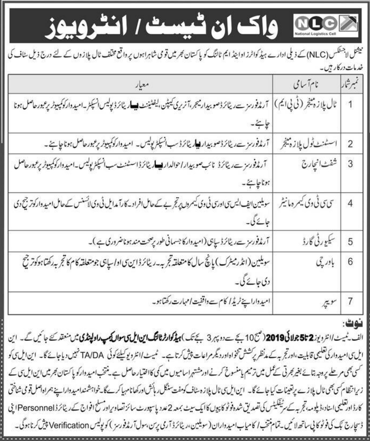National Logistics Cell NLC Rawalpindi Jobs 2019