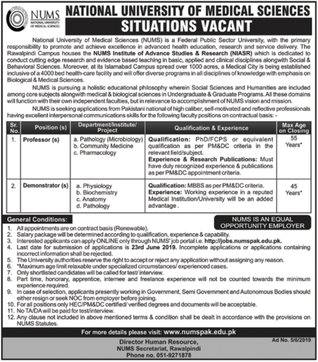 National University of Medical Sciences NUMS Rawalpindi Jobs 2019