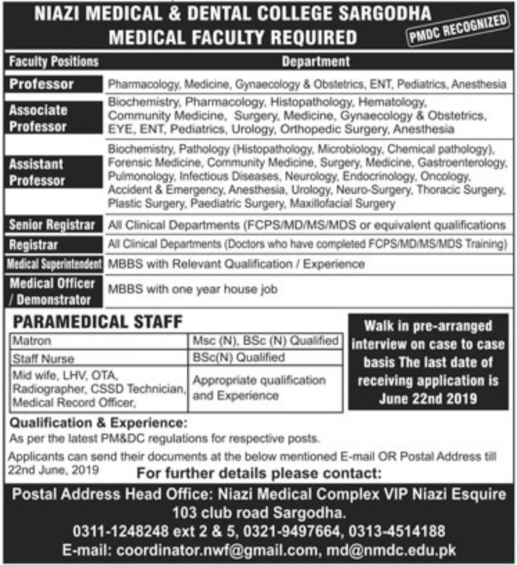 Niazi Medical & Dental College Sargodha Jobs 2019
