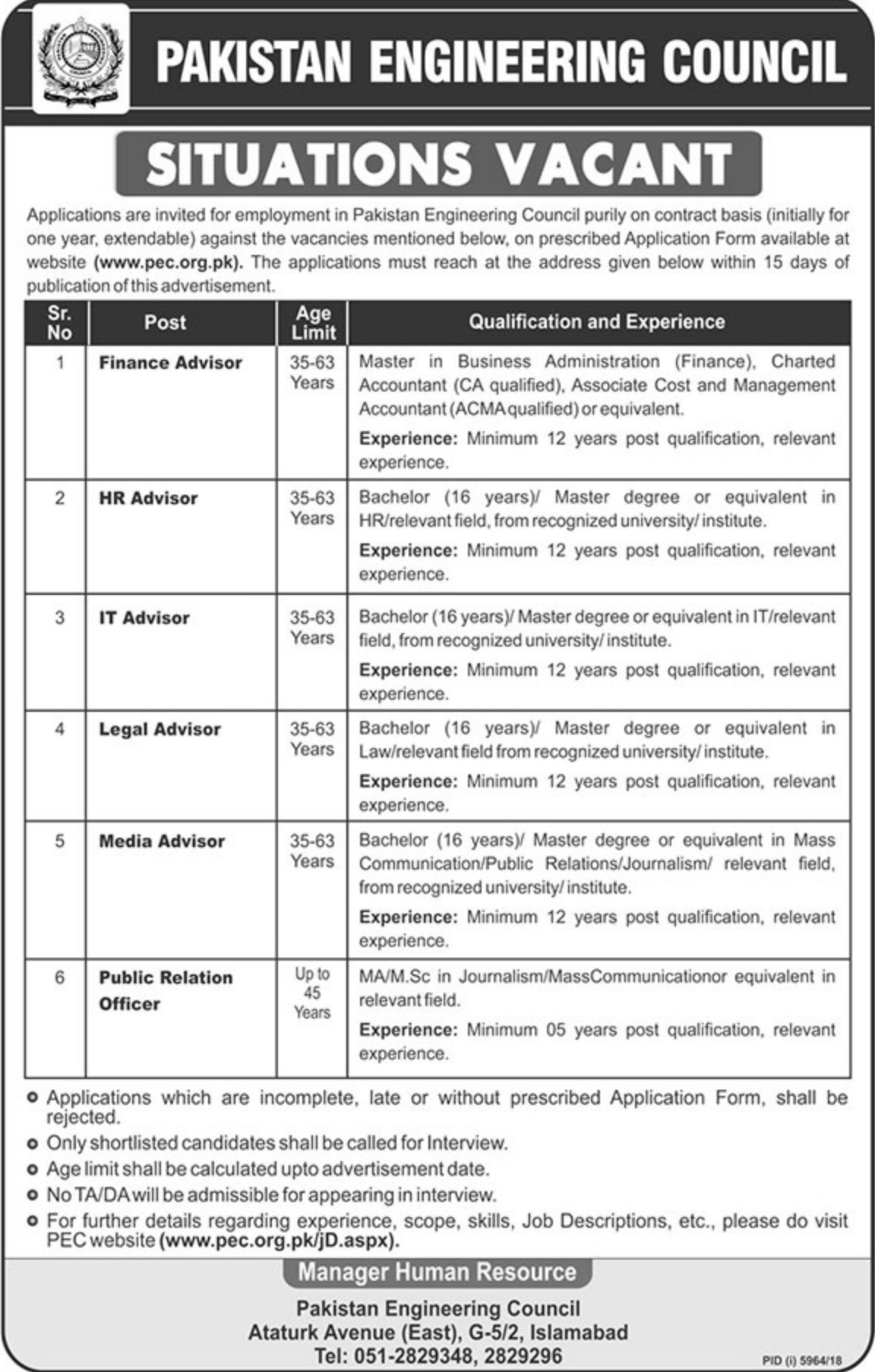 Pakistan Engineering Council PEC Jobs 2019 Islamabad