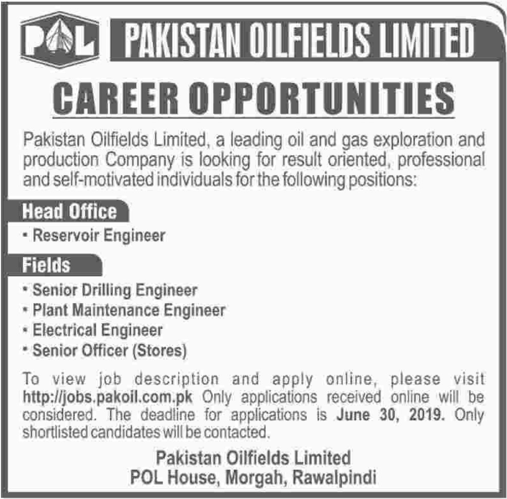 Pakistan Oilfields Ltd POL Rawalpindi Jobs 2019