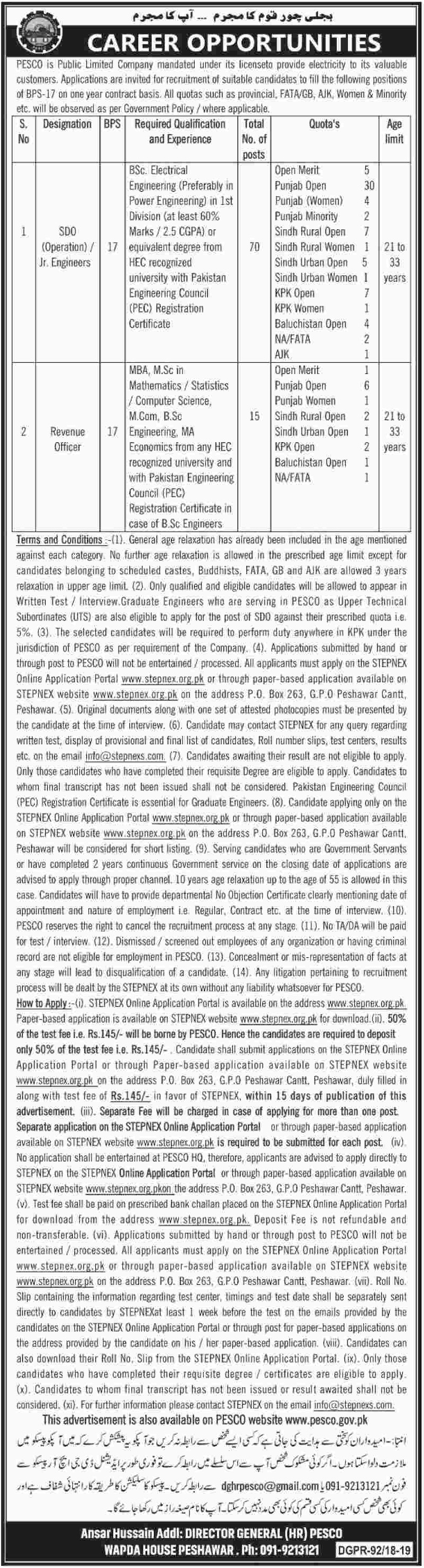 Peshawar Electric Supply Company PESCO Jobs 2019 SDO & Revenue Officer through STEPNEX