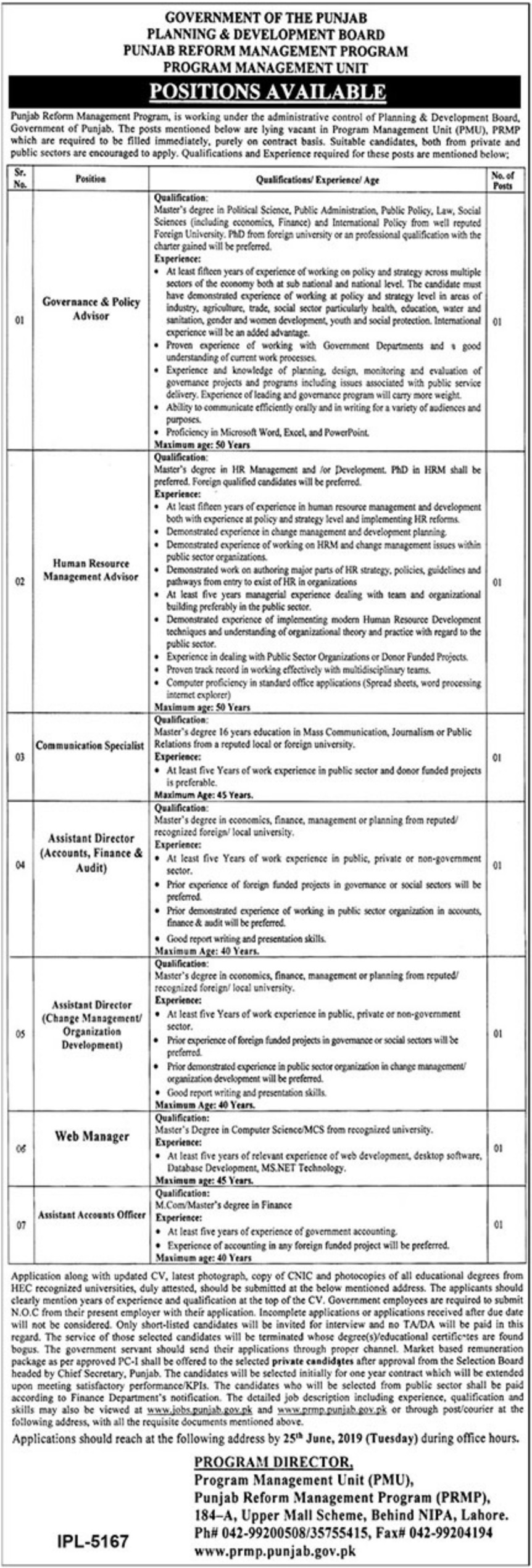 Planning & Development Board Jobs 2019 Government of Punjab