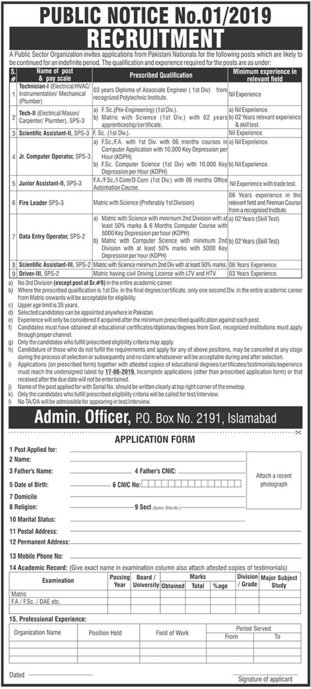 Public Sector Organization Jobs 2019 P.O.Box 2191 Islamabad