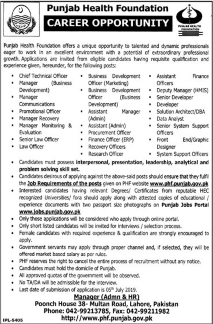 Punjab Health Foundation PHF Jobs 2019