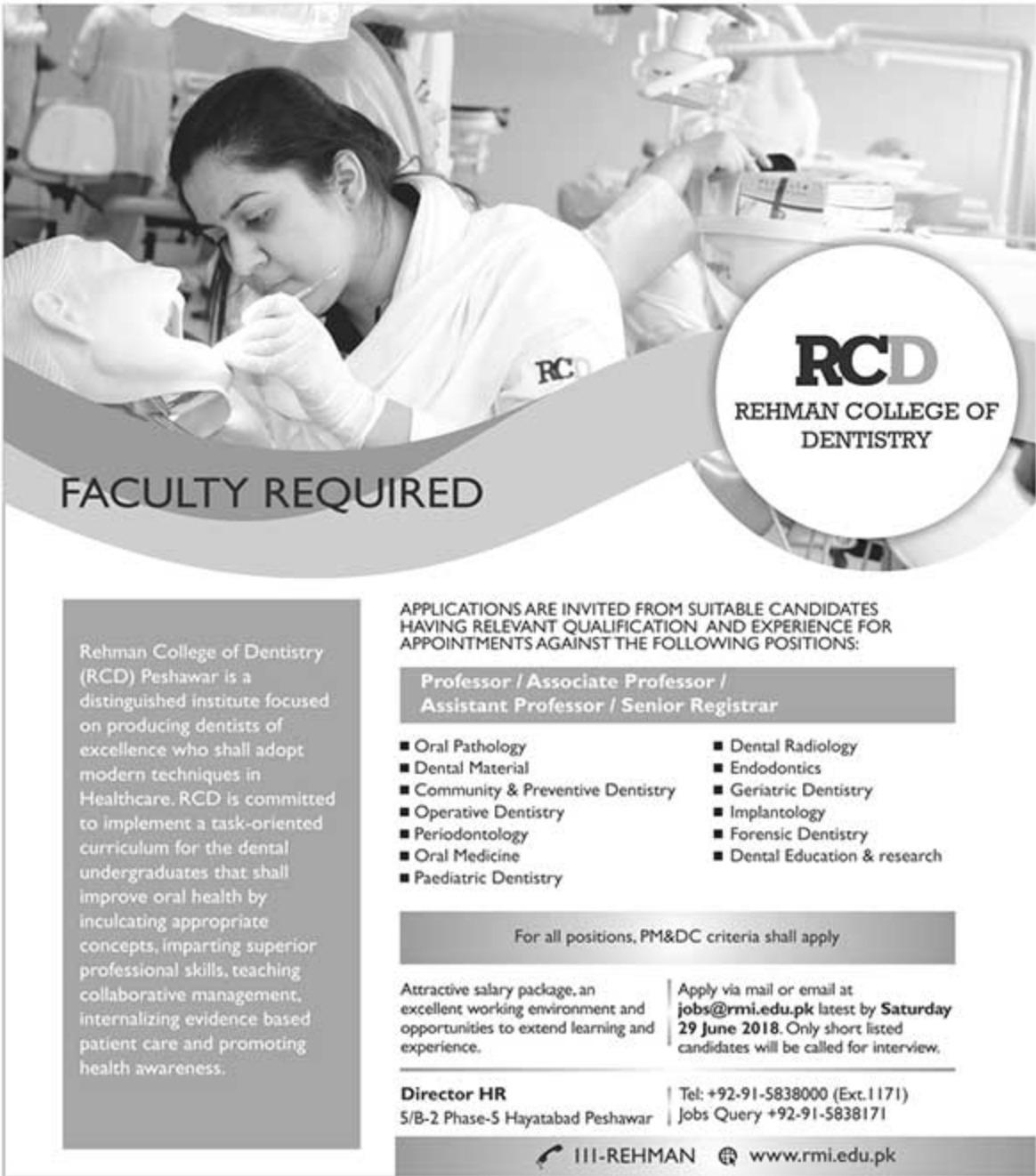 Rehman College of Dentistry RCD Peshawar Jobs 2019