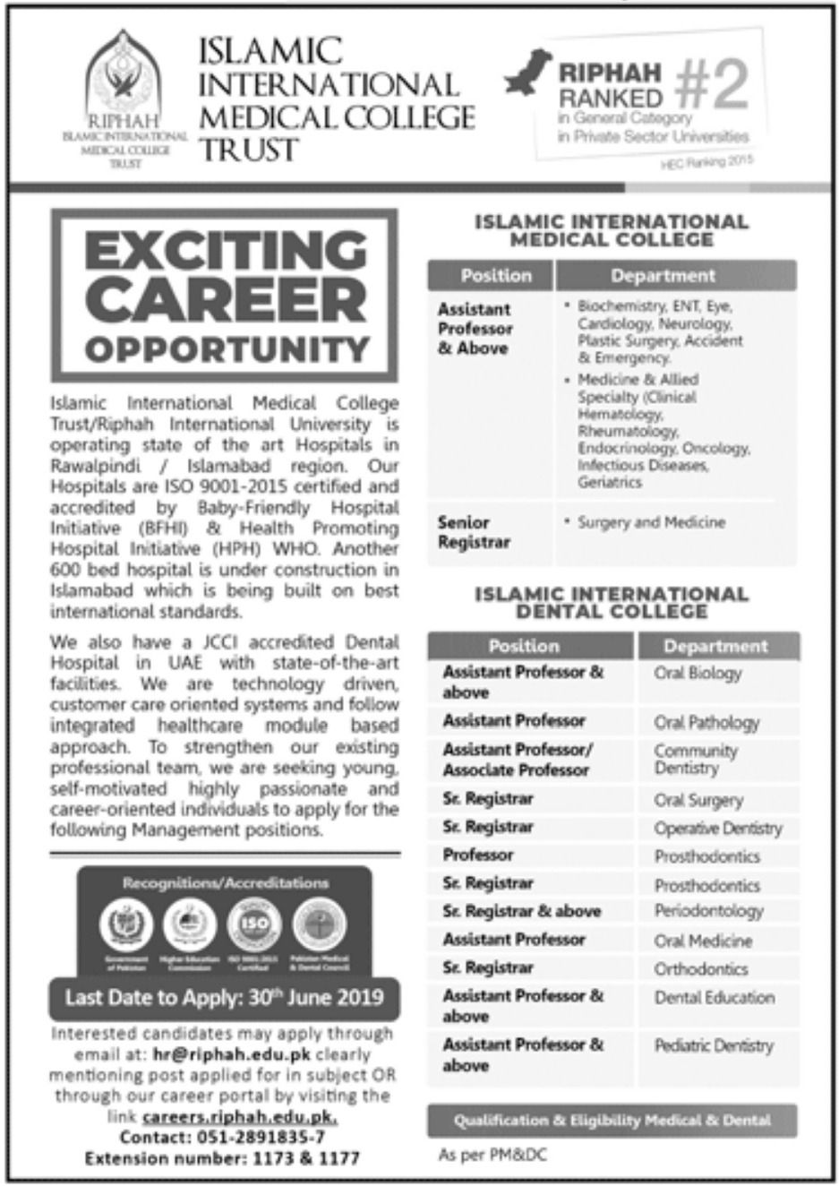 Riphah Islamic International Medical College Trust Islamabad Jobs 2019 Latest