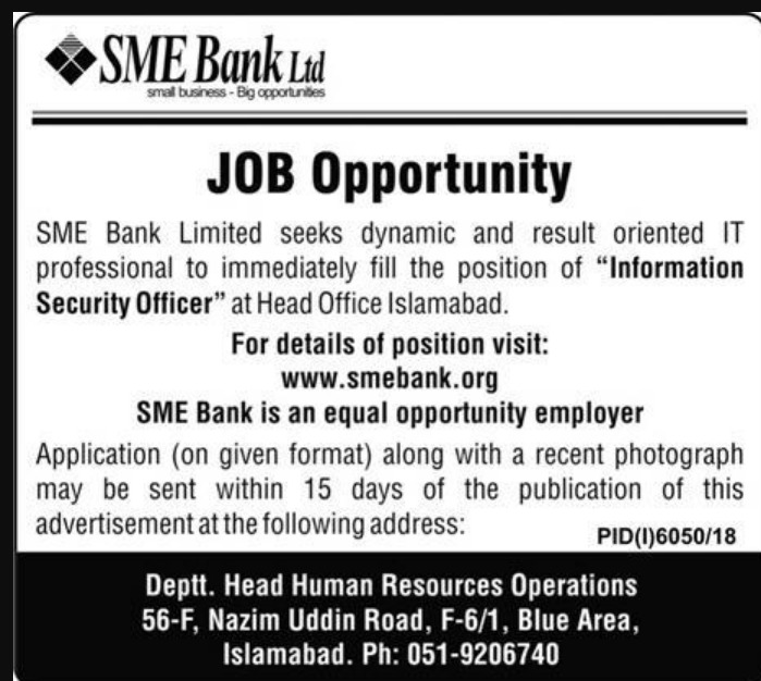 SME Bank Ltd Islamabad Jobs 2019