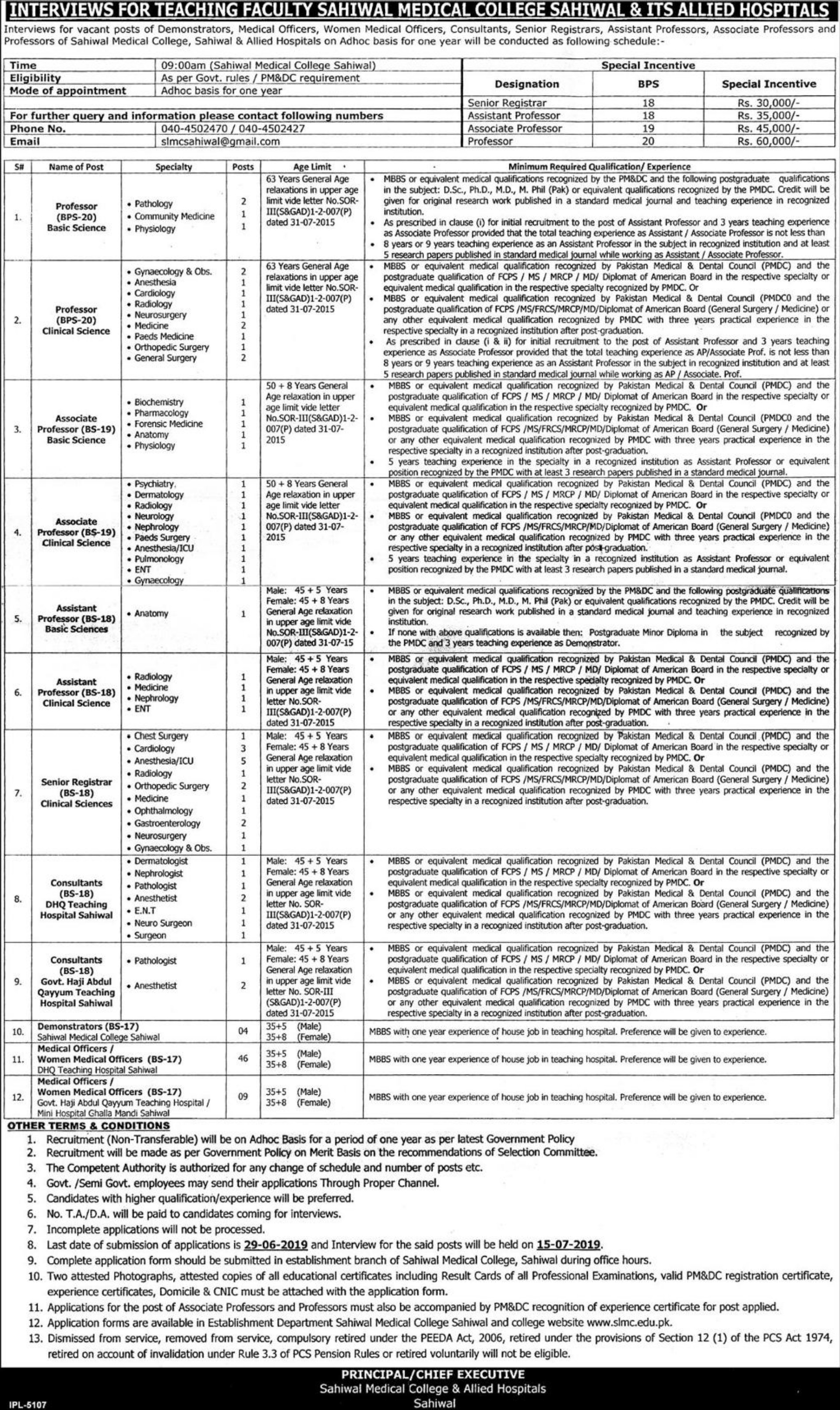 Sahiwal Medical College & Allied Hospitals Sahiwal Jobs 2019