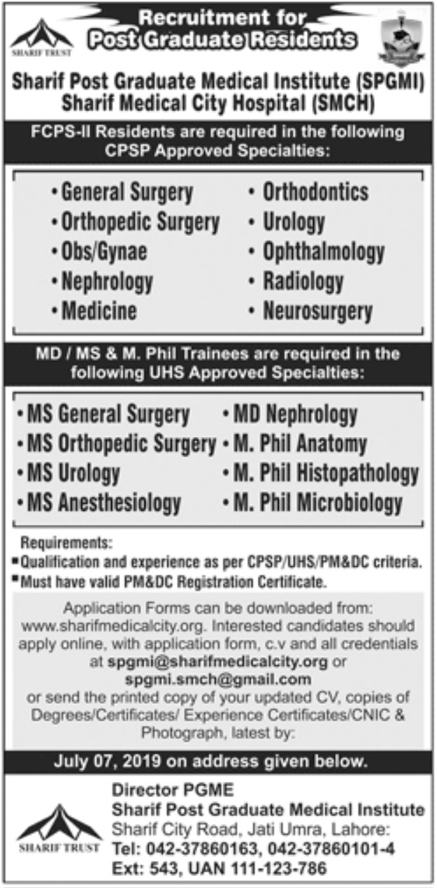 Sharif Post Graduate Medical Institute Lahore Jobs 2019