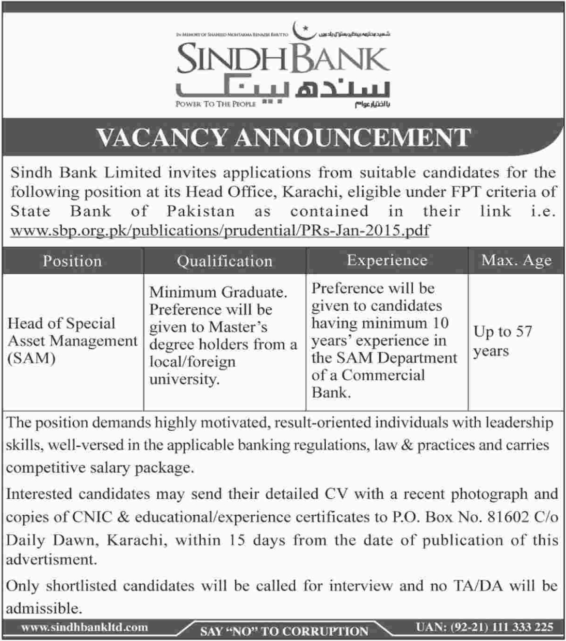 Sindh Bank Limited Jobs 2019 Head of Special Asset Management