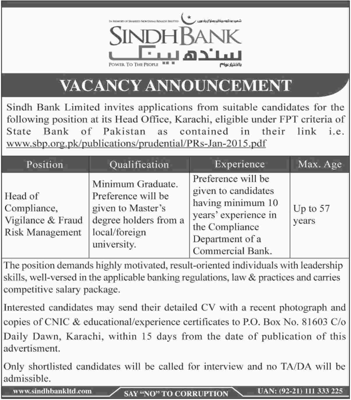 Sindh Bank Limited Jobs 2019 Karachi