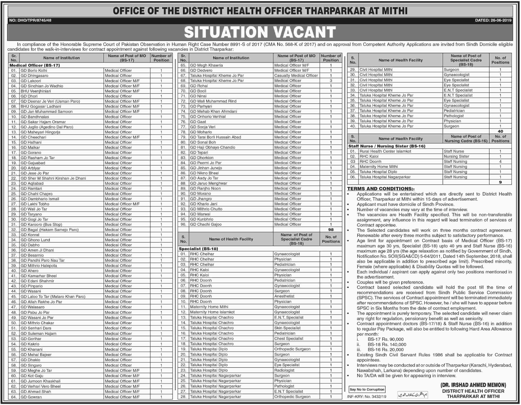 Sindh Health Department Jobs 2019 District Health Officer Tharparkar