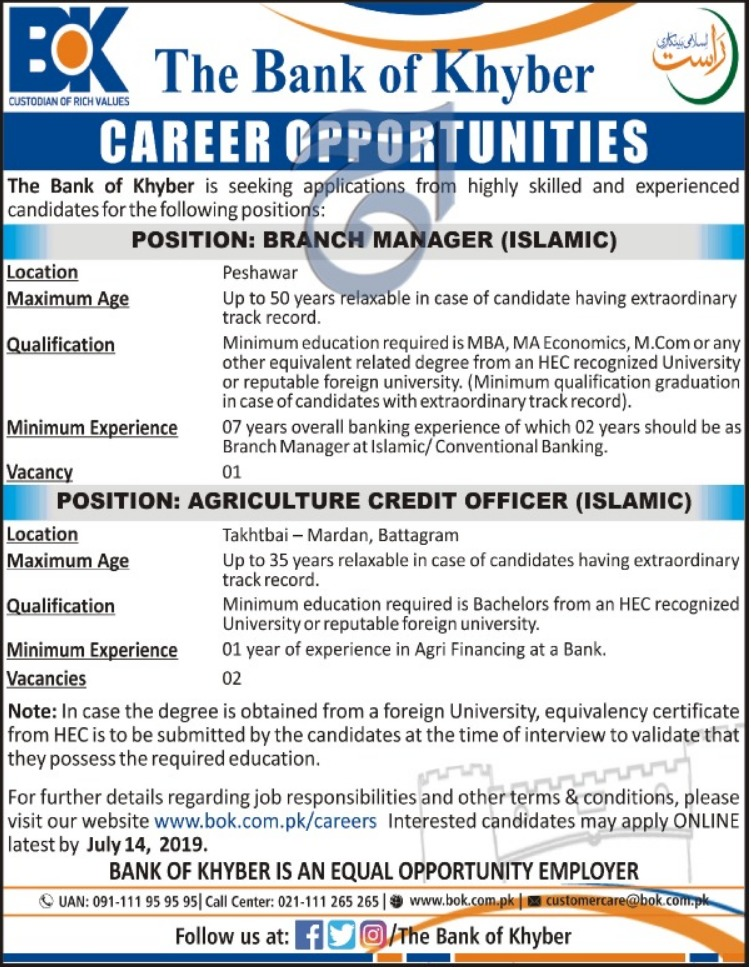 The Bank of Khyber Jobs 2019 Apply Online