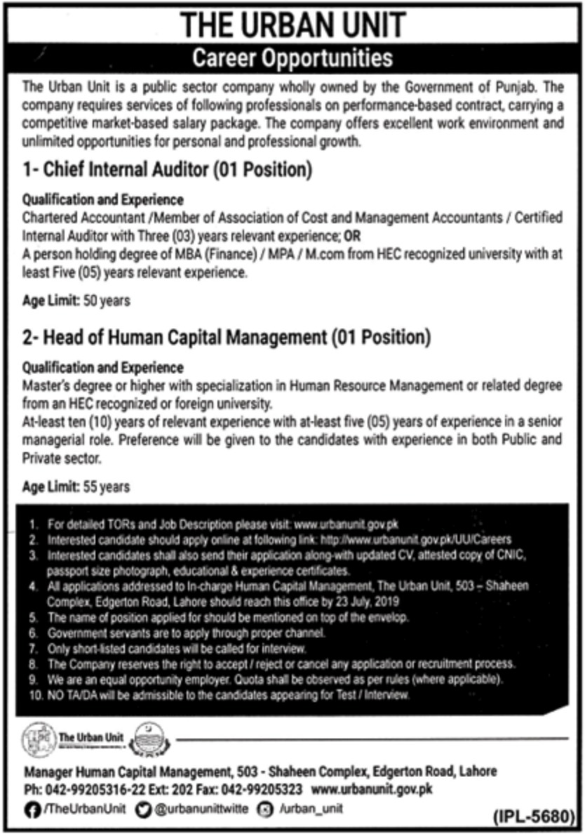 The Urban Unit Jobs 2019 Government of Punjab