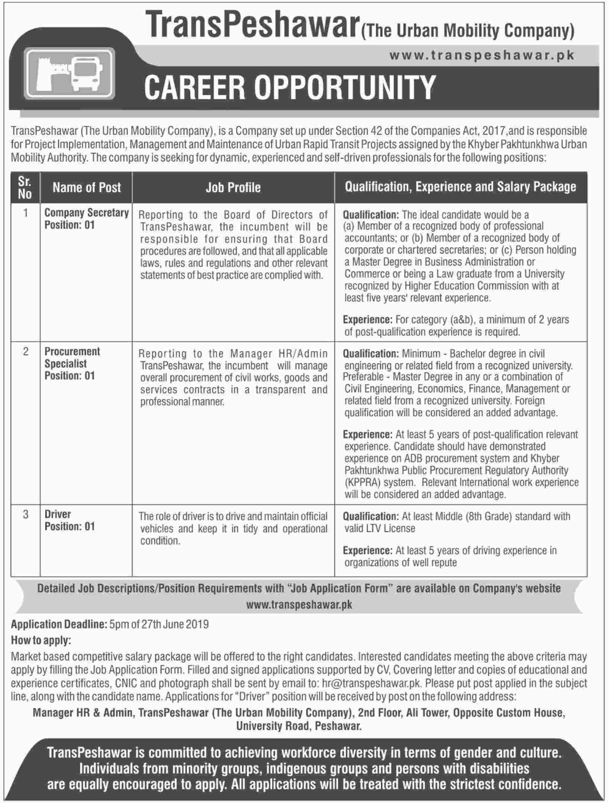 TransPeshawar Jobs 2019 The Urban Mobility Company