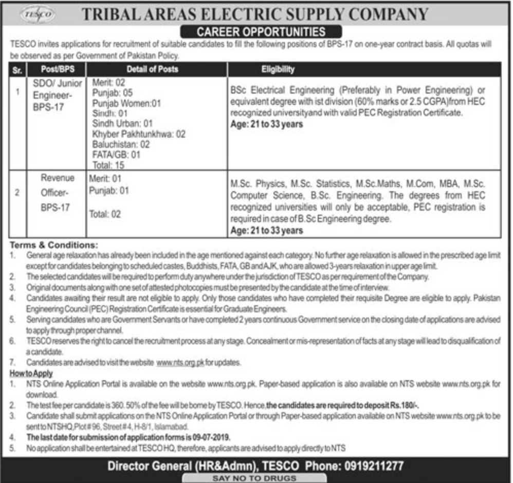 Tribal Electric Supply Company TESCO Jobs 2019 SDO & Revenue Officer