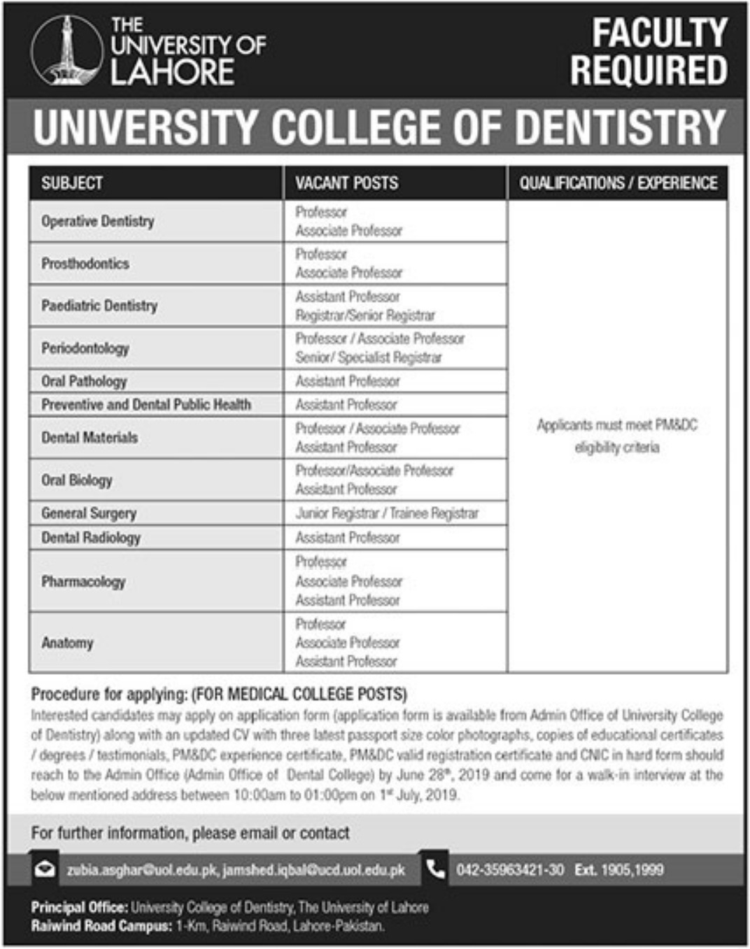 University College of Dentistry Jobs 2019 University of Lahore