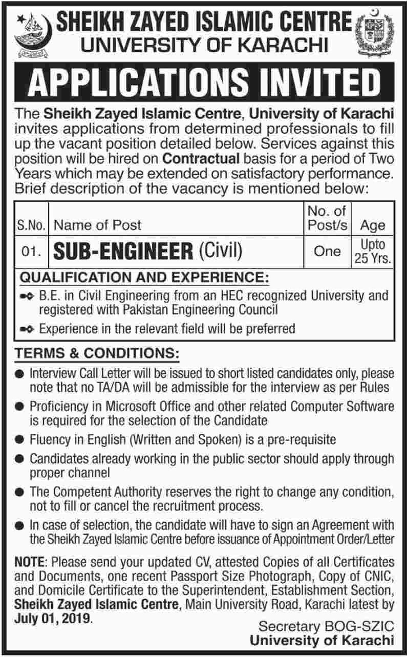University of Karachi Jobs 2019 Sheikh Zayed Islamic Centre