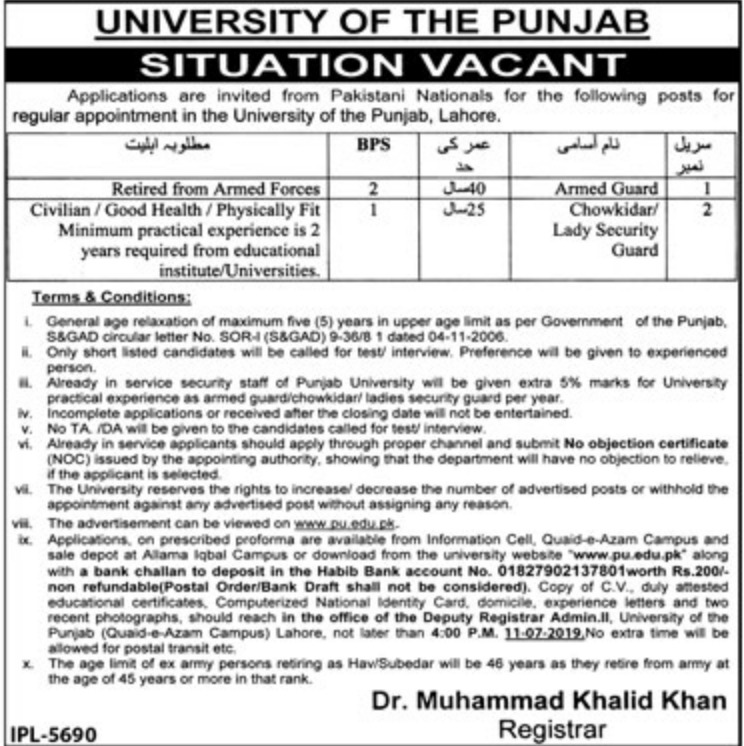 University of the Punjab Jobs 2019 PU Lahore