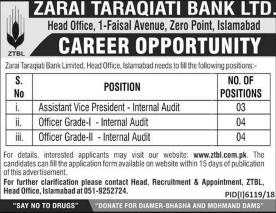 Zarai Taraqiati Bank Ltd Jobs 2019 ZTBL Islamabad