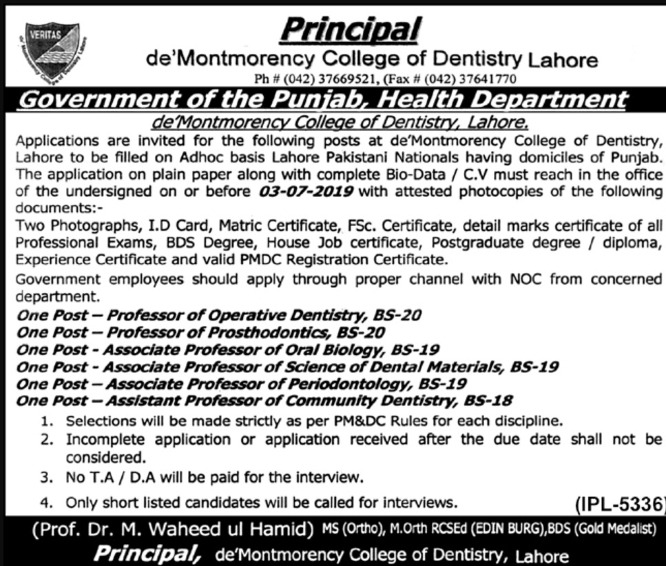 de Montmorency College of Dentistry Lahore Jobs 2019 Punjab Health Department