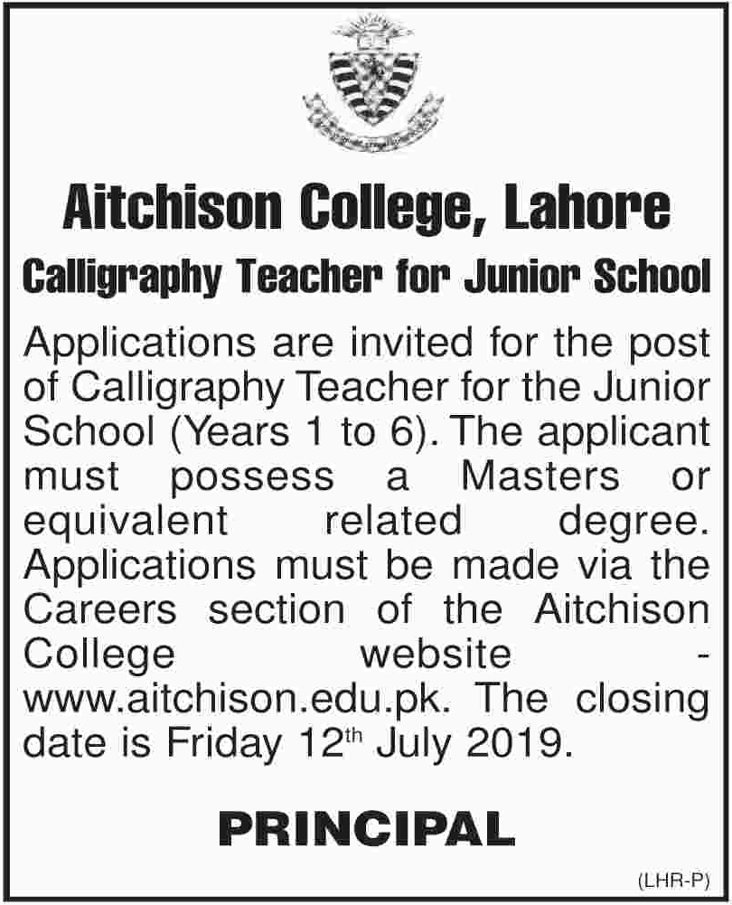 Aitchison College Lahore Jobs 2019 Calligraphy Teacher