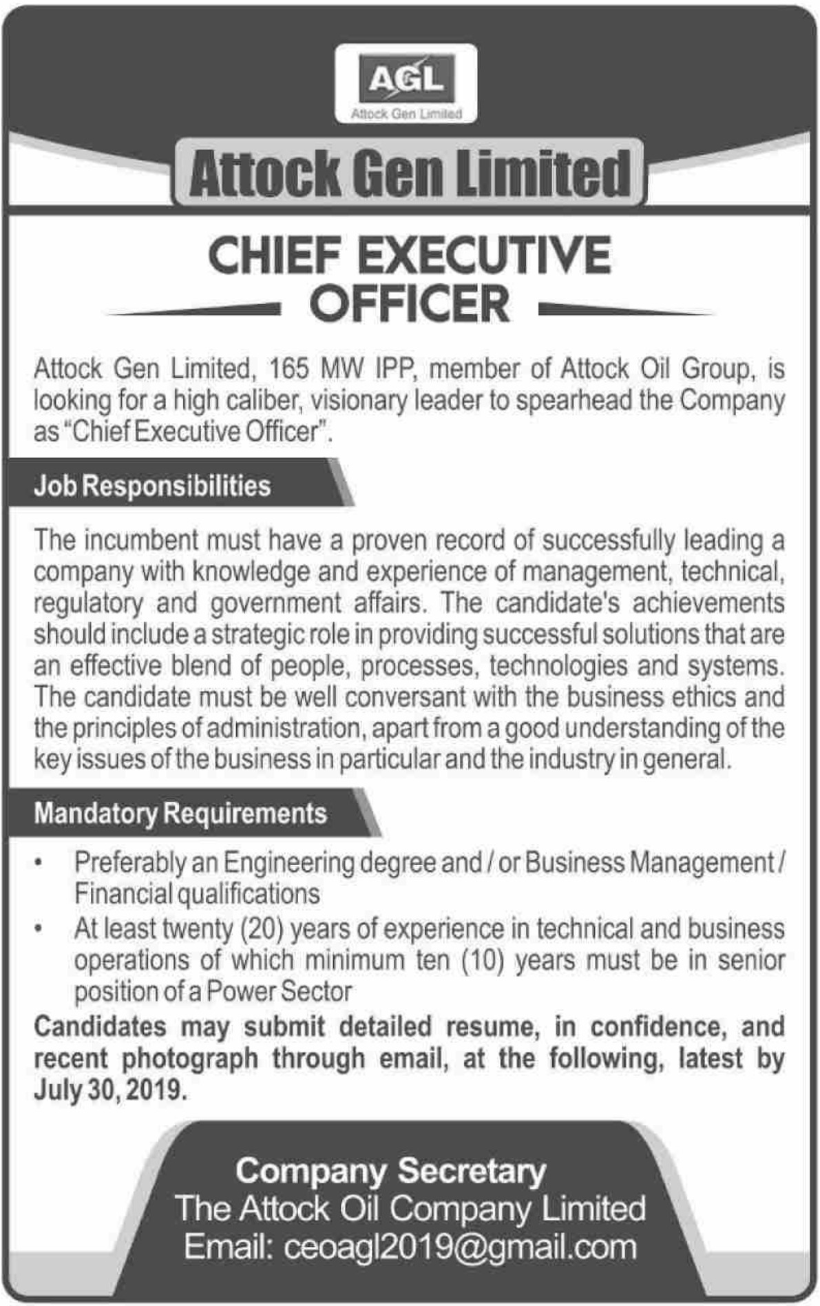 Attock Gen Limited Jobs 2019