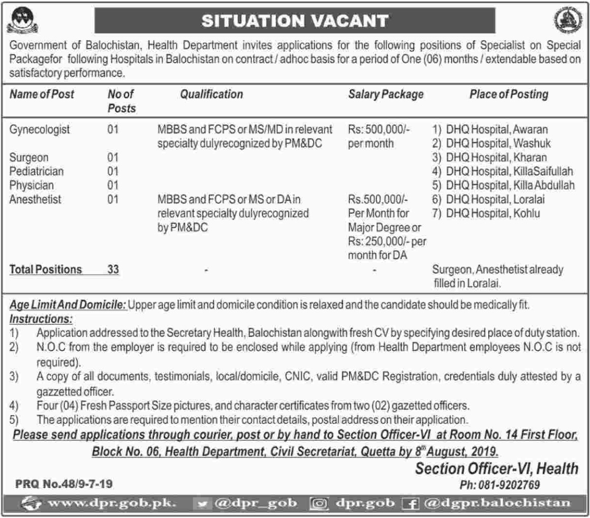Balochistan Health Department Jobs 2019 Quetta