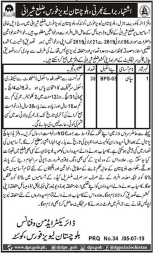Balochistan Levies Force Jobs 2019 Pishin