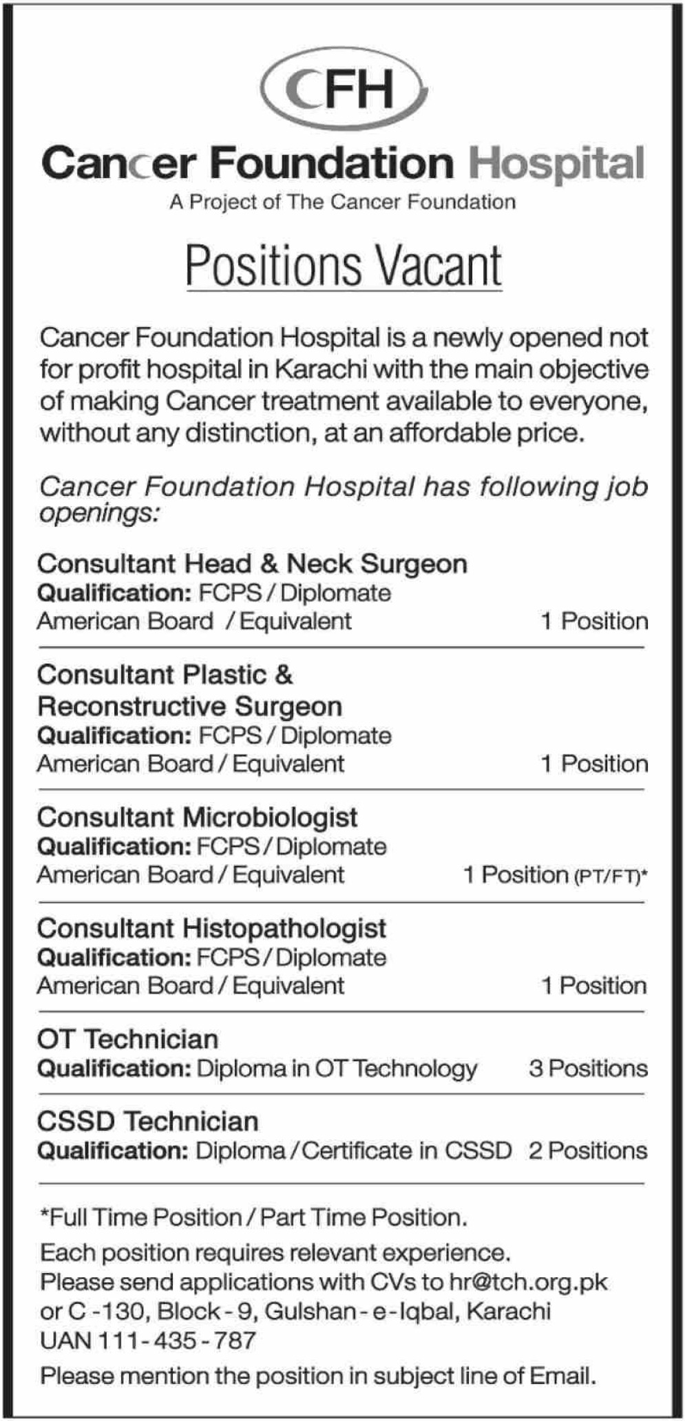 Cancer Foundation Hospital Karachi Jobs 2019