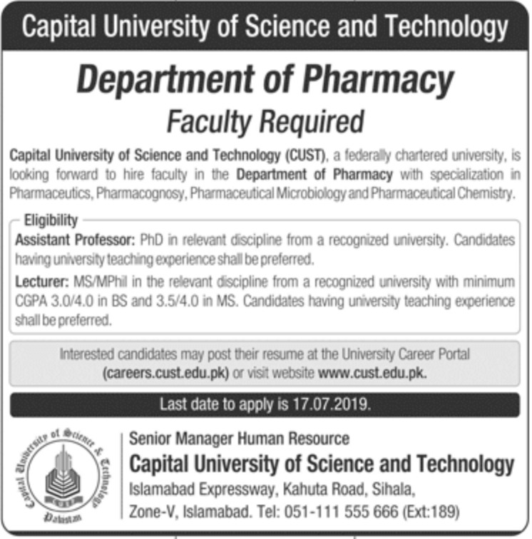 Capital University of Science and Technology CUST Islamabad Jobs 2019