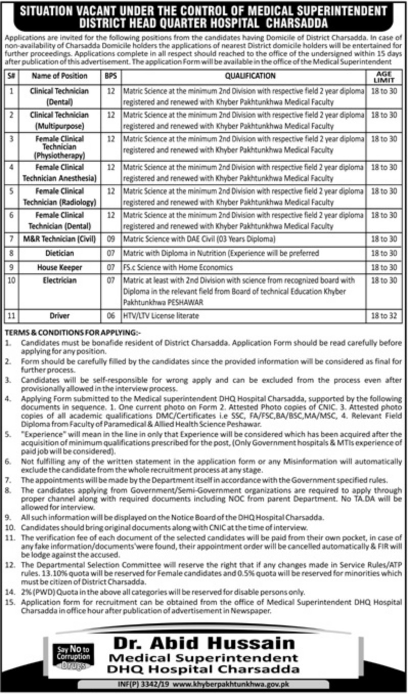DHQ Hospital Charsadda Jobs 2019 Health Department Khyber Pakhtunkhwa