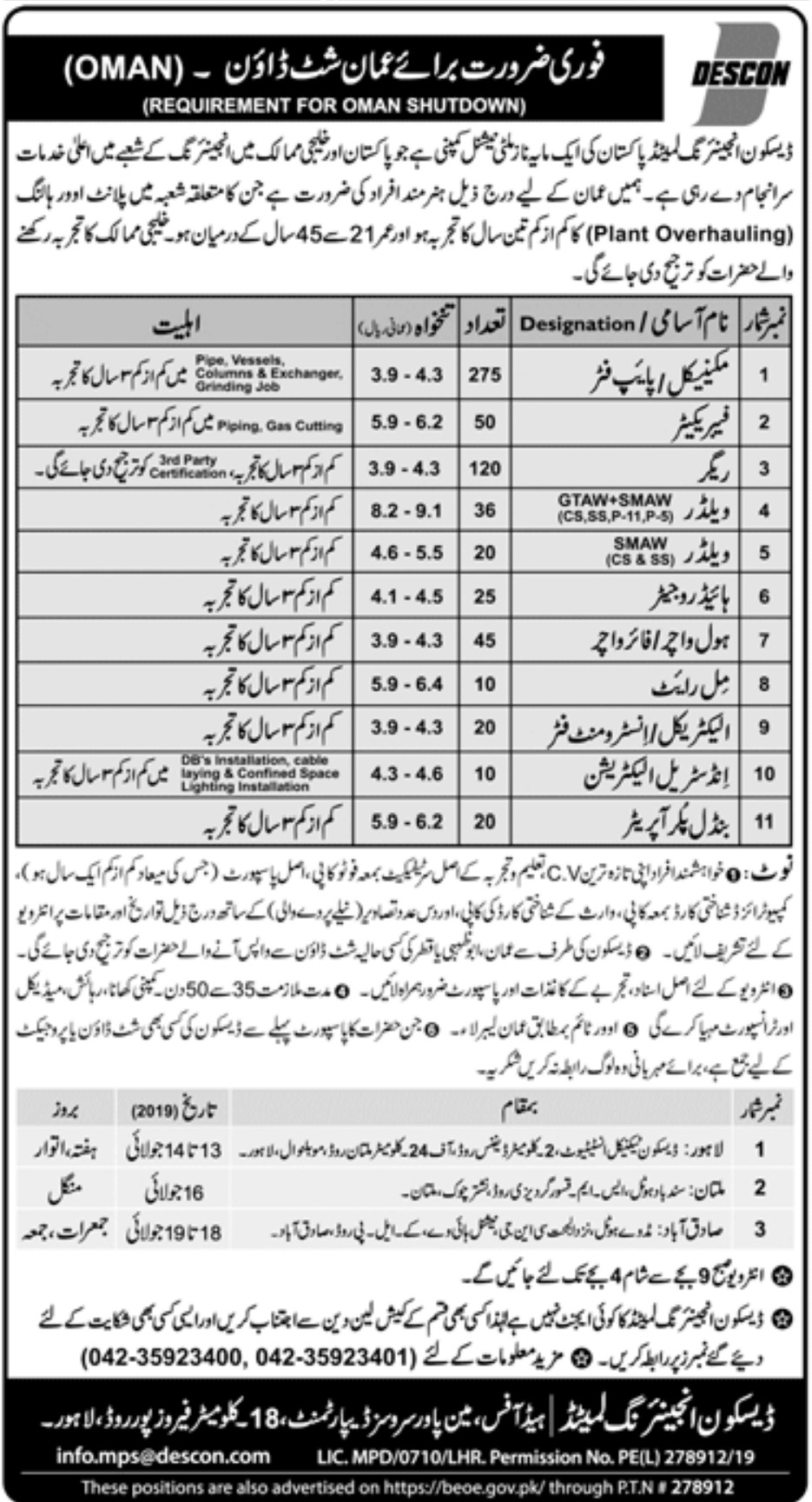 Descon Engineering Limited Jobs 2019 Oman