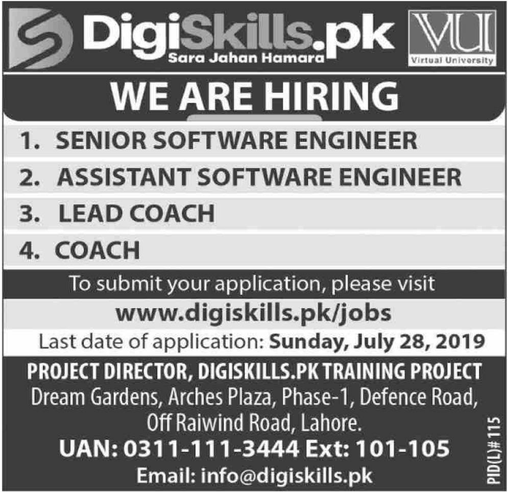 Digiskills Training Program Jobs 2019 VU Pakistan