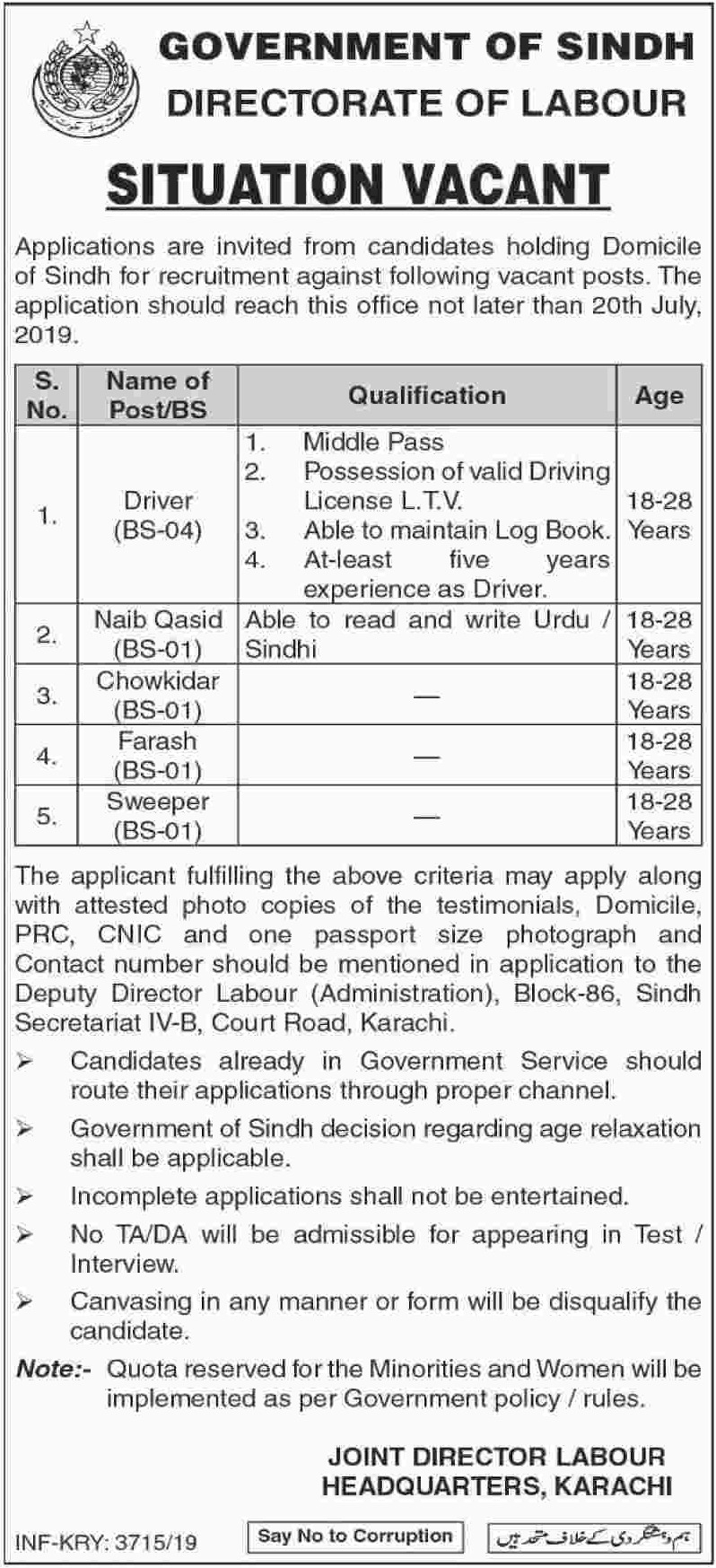 Directorate of Labour Karachi Jobs 2019 Government of Sindh