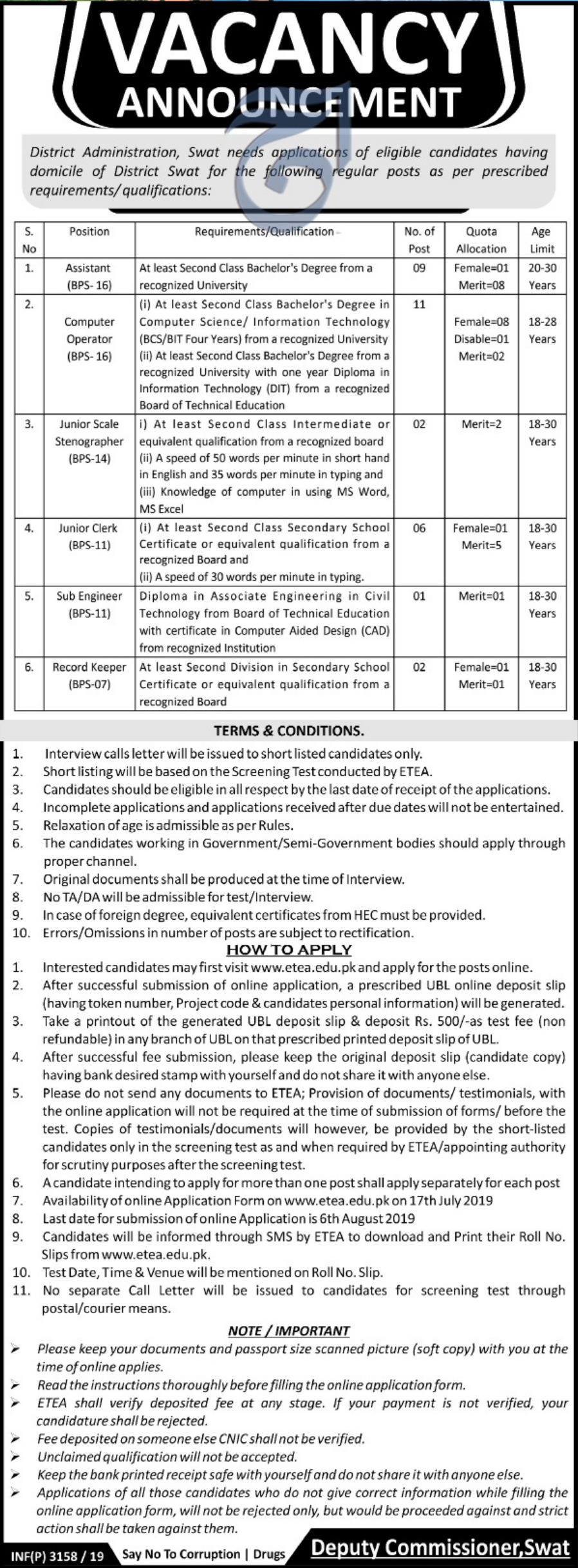 District Administration Swat Jobs 2019 Apply through ETEA