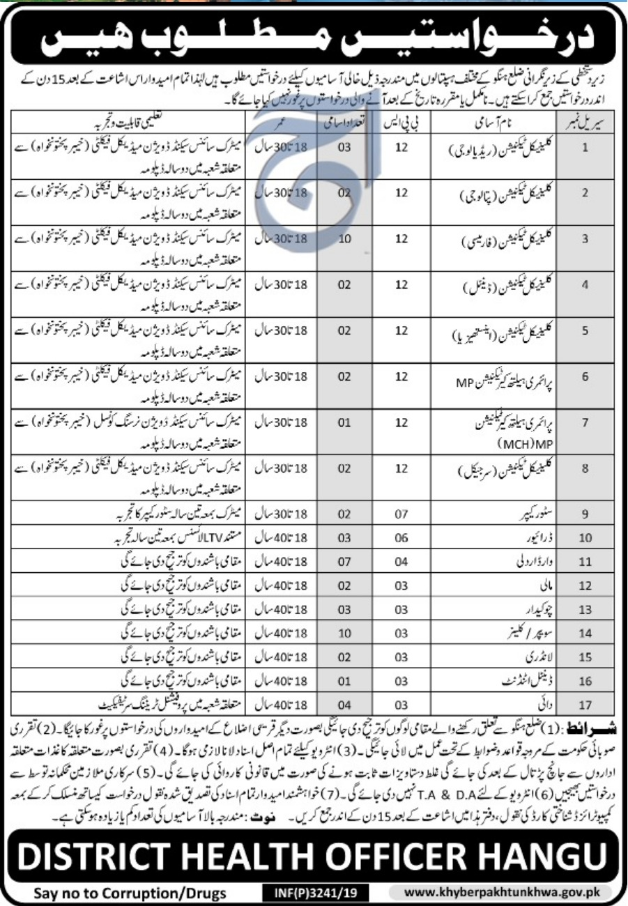 District Health Authority Hangu Jobs 2019 KPK Health Department