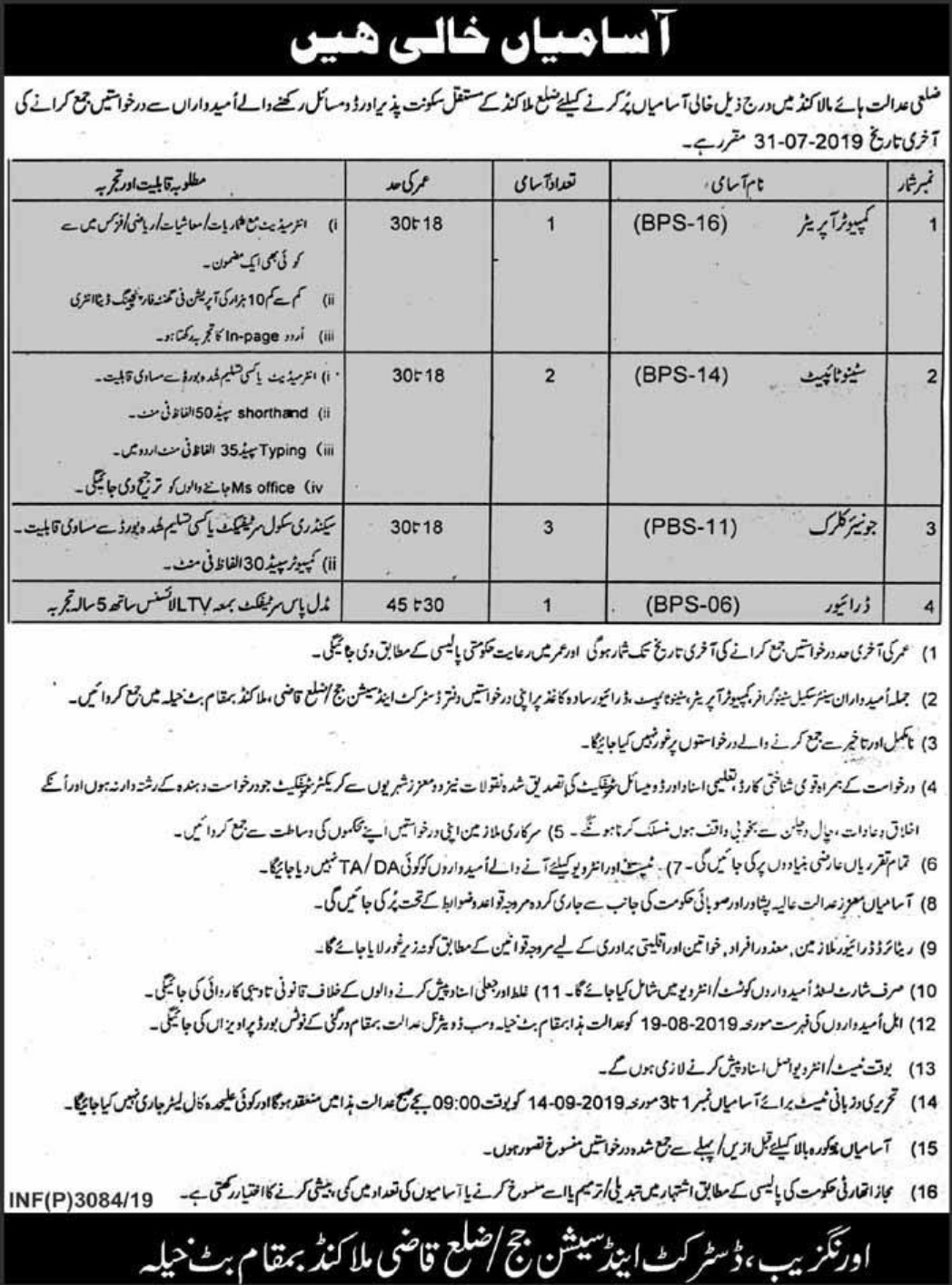 District & Session Court Malakand Jobs 2019 Khyber Pakhtunkhwa